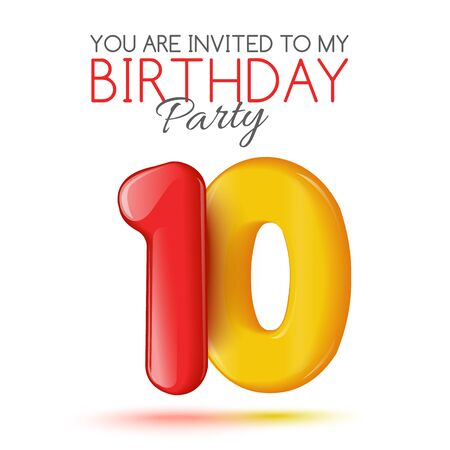 number 10: Ten years. Invitation card. The invitation to the feast. Invitation to the 10 years. Celebrating ten years. Bright 3D volume figure. Number 10. Inflatable figures. Invitation card with red balloons. Stock Photo