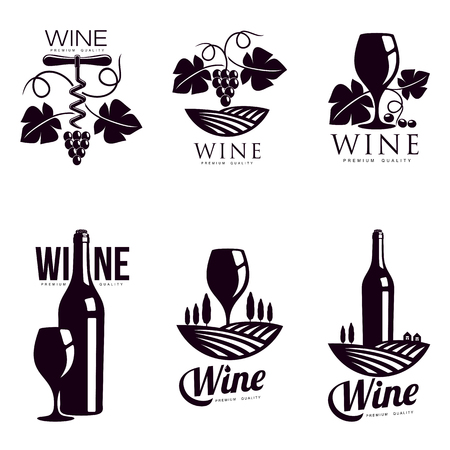 Set of elegant wine logo templates, illustration isolated on white background. Vintage style wine badges and labels. Black and white logo templates for your design