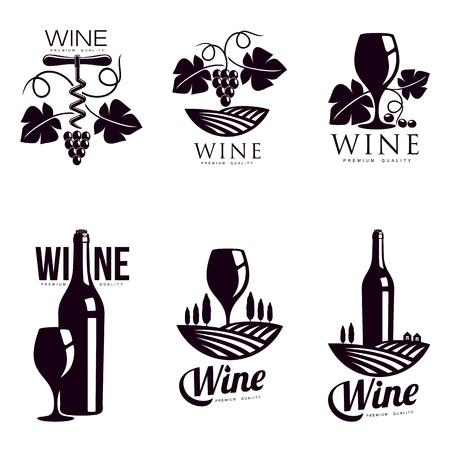 Set of elegant wine logo templates, illustration isolated on white background. Vintage style wine badges and labels. Black and white logo templates for your design
