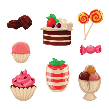 cupcakes isolated: Set of sweets, cakes, cupcakes, candy and ice cream, cartoon style vector illustration isolated on white background. Yummy dessert decorative icons set. Cakes, cupcakes, ice cream, candies, lollipops Illustration