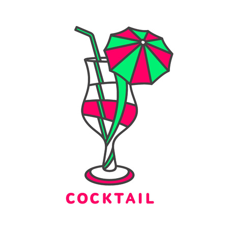 alcoholic beverage: colorful abstract cocktail logo, vector illustration isolated on white background. Modern alcoholic beverage icon, cocktail glass symbol with straw and umbrella. Artistic vector cocktail logo Illustration