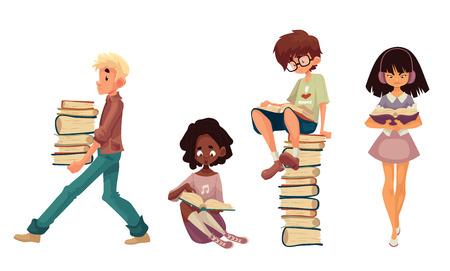 cartoon stijl illustratie set van kinderen lezen van boeken, geïsoleerd op een witte achtergrond. Jongen en meisjes zitten of lopen en het lezen van boeken, jongen met een stapel boeken Stockfoto