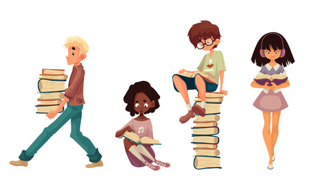 Set of children reading books, cartoon style illustration isolated on white background. Boy and girls sitting or walking and reading books, boy with a stack of books Stock Photo
