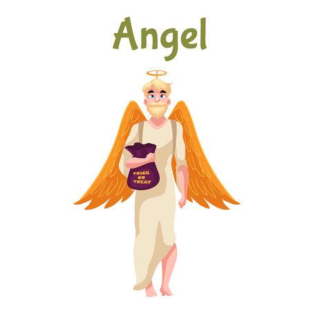 Hombre vestido de traje de ángel para Halloween con alas y aureola, estilo de dibujos animados ilustración vectorial aislados en fondo blanco. vestido de lujo del ángel para la idea de Halloween, el hombre con el truco o el bolso