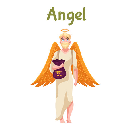 fancy dress: Man dressed in angel costume for Halloween with wings and nimbus, cartoon style vector illustration isolated on white background. Angel fancy dress for Halloween idea, man with trick or treat bag