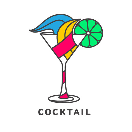 colorful straw: colorful abstract cocktail logo, vector illustration isolated on white background. Modern alcoholic beverage icon, cocktail glass symbol with straw and umbrella. Artistic vector cocktail logo Illustration