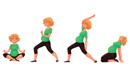pregnancy yoga: Set with beautiful pregnant woman in various poses of yoga, cartoon style vector illustration isolated on white background. Beautiful pregnant woman doing yoga, collection of asanas, healthy lifestyle