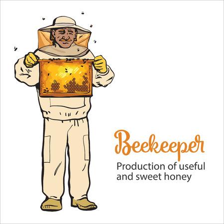 Apiculteur dans équipement de protection tenant la grille en nid d'abeille, croquis style vecteur illustration isolé sur fond blanc. Apiculteur en costume de protection travaillant au rucher