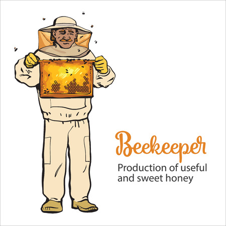 apiarist: Beekeeper in protective gear holding honeycomb grid, sketch style vector illustration isolated on white background. Apiarist in protective suit working at the apiary Illustration