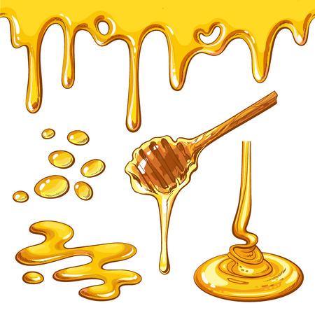 Ensemble de gouttes et blots miel, vecteur style cartoon illustration isolé sur fond blanc. chute de miel et découlant de la louche, éléments de décoration délicieux Vecteurs