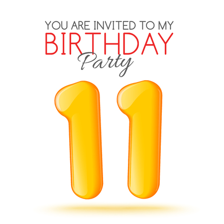 11 number: Eleven years. Invitation card. invitation to the feast. Invitation to the 11 years. Celebrating eleven years. Bright 3D volume figure. Number 11. Inflatable figures. Invitation card with red balloons