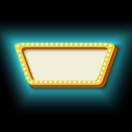 trapezoid: Vintage frame trapezoid with lights. 3d retro shape lamps. Neon blue light falls on the black wall. Blank white space for your text. Design element for your banner. illustration.