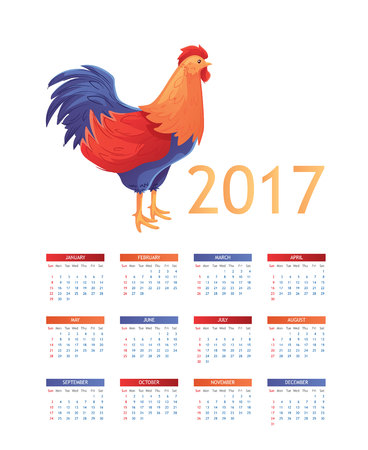 Colorful 2017 calendar with sketch rooster - symbol of year, vector illustration isolated on white background. Calendar template for the year 2017 with a color block rooster, week starts from Sunday Illustration