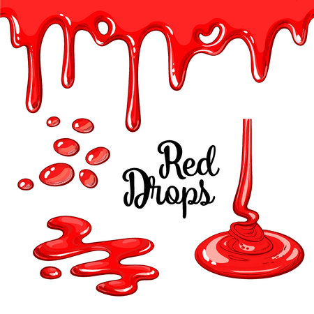 Set of red drops and blots, cartoon style vector illustration isolated on white background. red dropping and flowing, yummy cake decoration elements