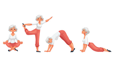 Set with beautiful senior woman in various poses of yoga, cartoon style vector illustration isolated on white background. Beautiful old doing yoga, collection of asanas, healthy lifestyle