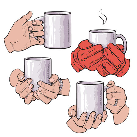 Set of well groomed female hands holding a cup with tea or coffee, sketch style vector illustration isolated on white background. Realistic drawing of beautiful hands holding a mug with a hot beverage