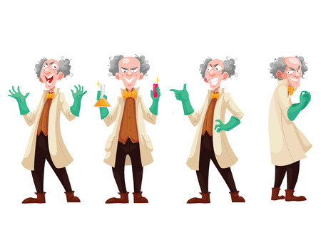 Mad professor in lab coat and green rubber gloves, cartoon style vector illustration isolated on white background. Funny laughing white-haired scientist in four different postures Vectores