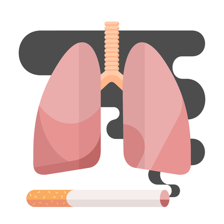 Icons about smoking. illustration flat, dangers of smoking. health problems due to smoking, human lungs. Stock Photo