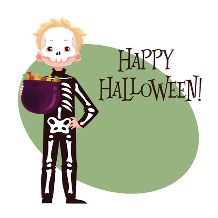 fancy dress: Happy boy dressed as skeleton for Halloween, cartoon style vector illustration isolated on white background. Skeleton fancy dress idea. Trick or treat Halloween card