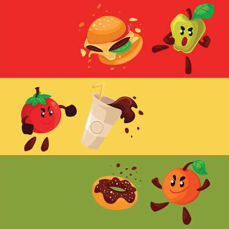 habit: Apple, orange, tomato fighting burger, donut, coke, cartoon style vector illustration isolated on white background. Health food against fast food, smart eating habit poster, banner, card design