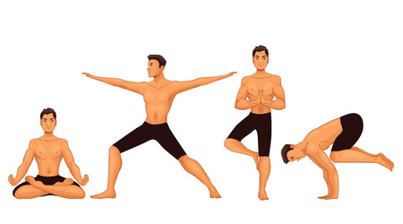 Set with handsome young man in various poses of yoga, cartoon style vector illustration isolated on white background. Fit and strong young man doing yoga, collection of asanas, healthy lifestyle Illustration