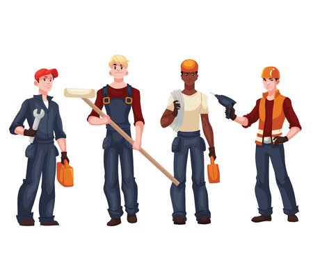 repairman: Set of full length workers - electrician, mechanic, painter, repairman, cartoon style vector illustration isolated on white background. Collection of young and happy industrial workers