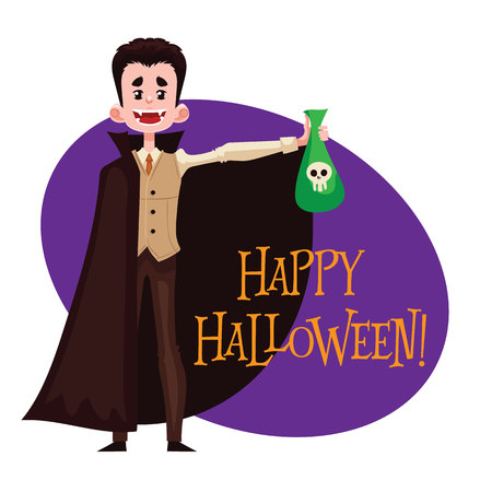 fancy dress: Happy boy dressed as Dracula for Halloween, cartoon style vector illustration isolated on white background. Dracula, vampire fancy dress idea. Trick or treat Halloween card Illustration