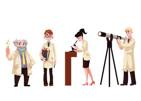 Conjunto de los científicos masculinos y femeninos, estilo de ilustración vectorial de dibujos animados aislado en el fondo blanco. Químico, físico, biólogo, astrónomo. Colección de científicos en batas blancas Logos