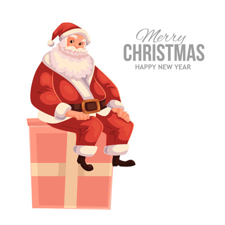 christmas eve: Cartoon style Santa Claus sitting on a gift box, Christmas vector greeting card. Full length portrait of Santa sitting on a present box, greeting card template for Christmas eve