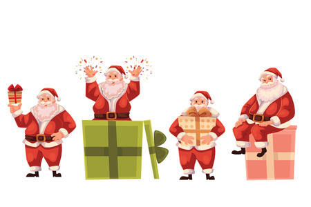 popping: Set of Santa Claus and a box, cartoon style vector illustration isolated on white background. Santa Claus holding a present box, popping out of a box and sitting on a box, Christmas decoration element