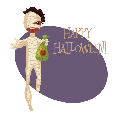 fancy dress: Happy boy dressed as mummy for Halloween, cartoon style vector illustration isolated on white background. Mummy fancy dress idea. Trick or treat Halloween card
