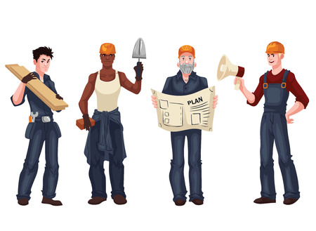 arquitecto caricatura: Set of industrial workers - foreman, builder, bricklayer, architect, cartoon style vector illustration isolated on white background. Collection of young and happy industrial workers