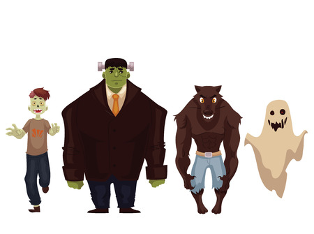 People dressed in monster, zombie, werewolf and ghost Halloween costumes, cartoon style vector illustration isolated on white background. Spooky fancy dress ideas for Halloween