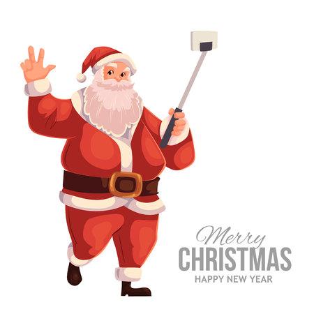 christmas eve: Cartoon style Santa Claus making selfie, Christmas vector greeting card. Full length portrait of Santa making selfie, greeting card template for Christmas eve