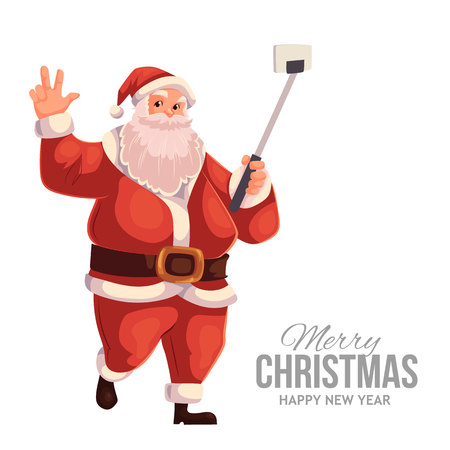 Cartoon style Santa Claus making selfie, Christmas vector greeting card. Full length portrait of Santa making selfie, greeting card template for Christmas eve
