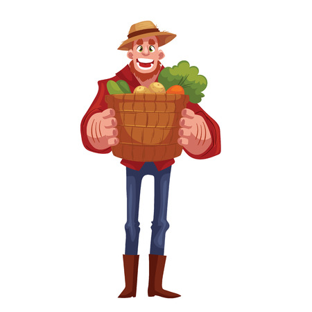 freshly: Caucasian man, standing and holding baskets of freshly harvested fruits and vegetables, cartoon style illustration isolated on white background. Happy man gardening concept Stock Photo