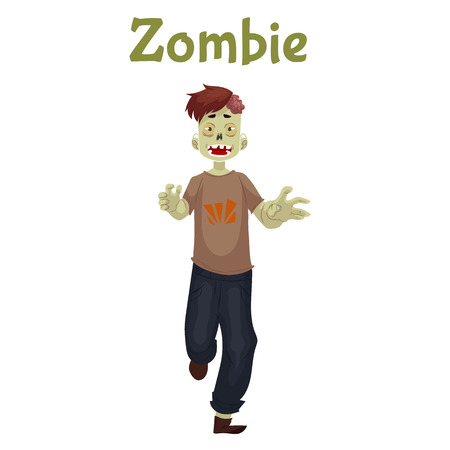 cruel: Man dressed in zombie costume for Halloween, cartoon style illustration isolated on white background. Running zombie, fancy dress for Halloween idea Stock Photo