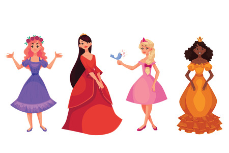Cute collection of beautiful princesses, cartoon vector illustration isolated in white background. Four beautiful princesses in evening gowns, black skinned and caucasian, black, red and blond hair Illustration