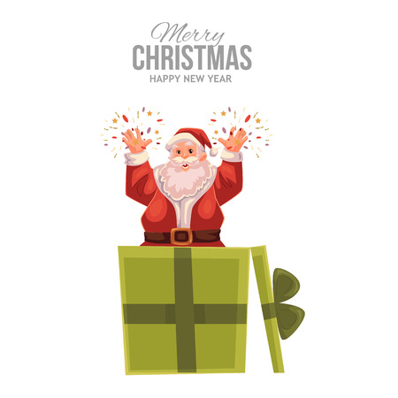 old man portrait: Cartoon style Santa Claus popping out of a gift box, Christmas vector greeting card. Full length portrait of Santa popping out of a present box, greeting card template for Christmas eve Illustration