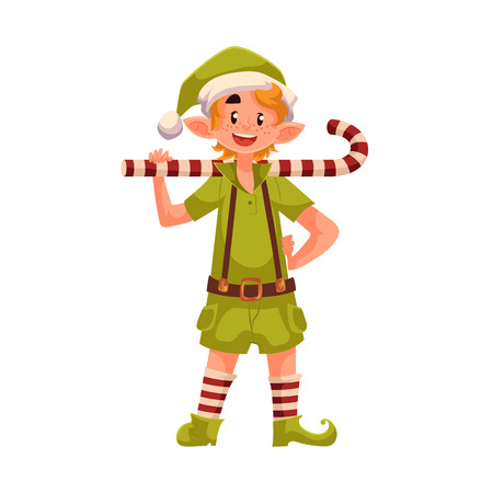 Christmas elf with a candy cane, cartoon vector illustration isolated on white background. Santa helper in green suit and striped socks, traditional elf character, Christmas decoration element