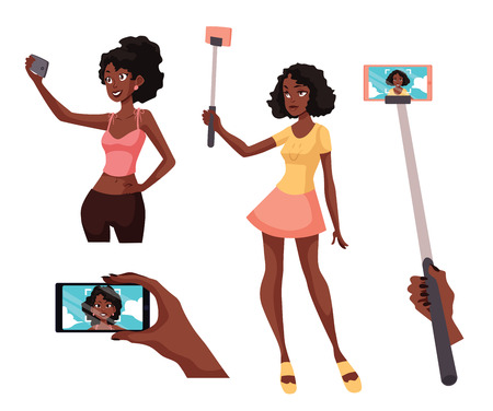 Set of beautiful girls taking selfie with a smartphone, cartoon style illustration isolated on white background. Young black african women holding phone for taking selfie and portrait on screen