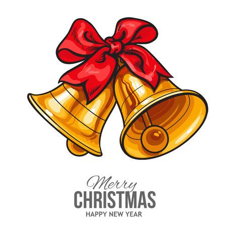 Goldene Weihnachtsglocken mit einer roten Schleife, Vektor-Grußkarte. Traditionelle Paar Weihnachtsglocken mit einem roten Band, Dekoration Element, Weihnachtsgrußkartenschablone