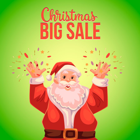 declaring: Cartoon style Santa Claus making fireworks, Christmas vector sale banner, green background, text at the top. Half length portrait of Santa declaring a sale, Christmas sale banner template