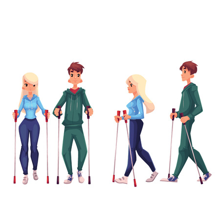 Paar van jonge volwassen nordic walkers, cartoon stijl vector illustratie op een witte achtergrond. Man en vrouw gaan in voor nordic walking, voor- en zijaanzicht. Mannelijke en vrouwelijke Nordic walkers