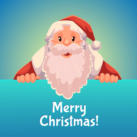 Cartoon style Santa Claus holding a sign with both hands, Christmas vector greeting card, blue background. Half length portrait of Santa holding a sign, greeting card template for Christmas eve