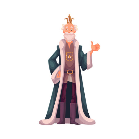 mantles: king wearing crowns and mantles, cartoon vector illustration isolated in white background. king tall old white skinned, kind and happy