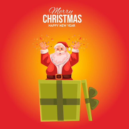 popping: Cartoon style Santa Claus popping out of gift box, Christmas vector greeting card, red background. Full length portrait of Santa popping out of a present box, greeting card template for Christmas eve
