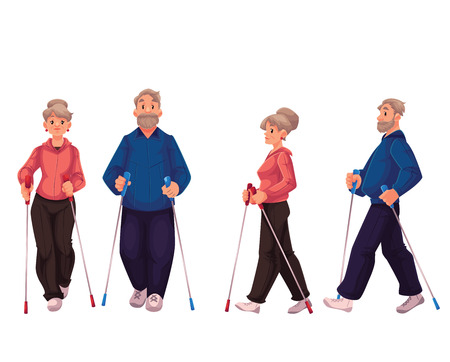 power walking: Couple of elder adult nordic walkers, cartoon style vector illustration isolated on white background. Man and woman going in for nordic walking, front and side view. Male and female Nordic walkers