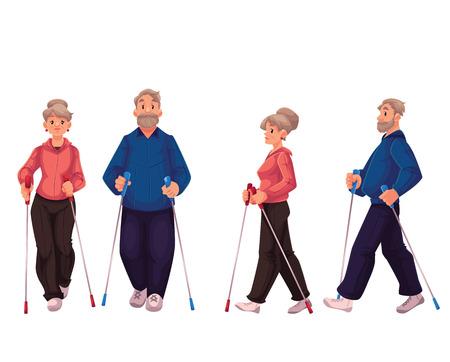 Paar van oudere volwassen nordic walkers, cartoon stijl vector illustratie op een witte achtergrond. Man en vrouw gaan in voor nordic walking, voor- en zijaanzicht. Mannelijke en vrouwelijke Nordic walkers