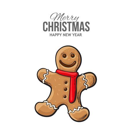 Navidad, Galleta Del Pan De Jengibre Del Diseño De La Tarjeta De ...